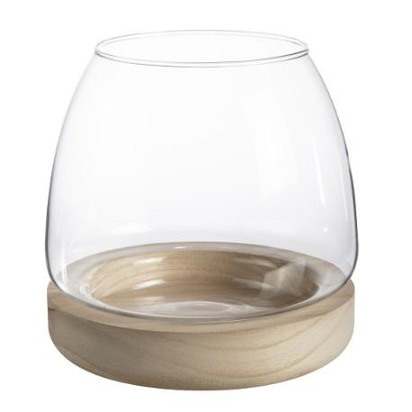 Vase verre sur socle bois (h)15x(d)15cm