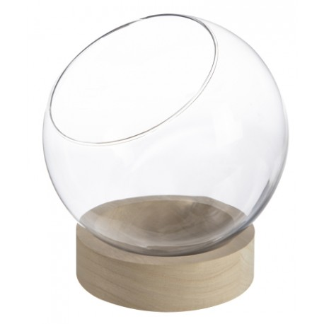 Vase boule verre sur socle bois (h)20,5x(d)20cm