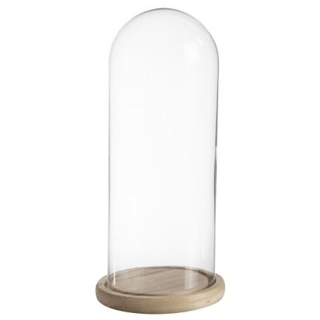 Cloche verre sur socle bois (h)26,5x(d)12cm