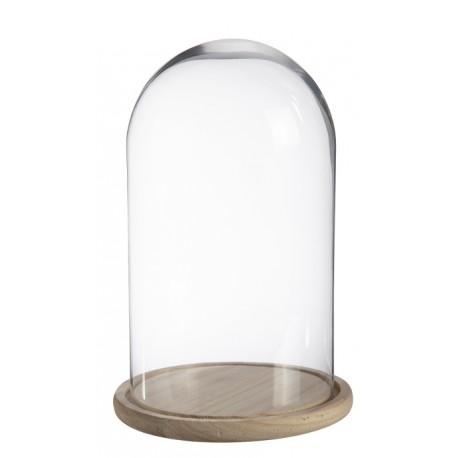 Cloche verre sur socle bois (h)26,5x(d)17cm